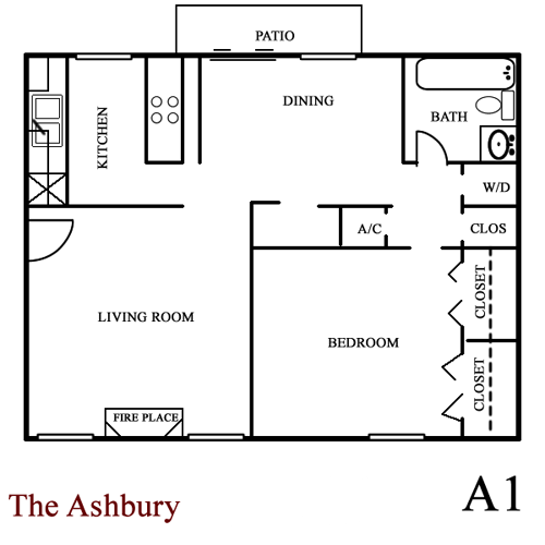 Ashbury - One Bedroom / One Bath - 770 Sq.Ft.*