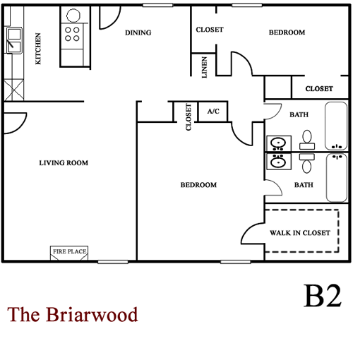 Briarwood - Two Bedroom / Two Bath - 1,100 Sq. Ft.*