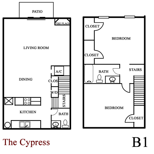 Cypresss - Two Bedroom / One & 1/2 Bath - 1,075 Sq. Ft.*