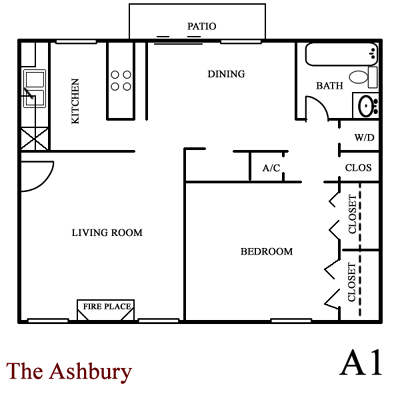 Ashbury - One Bed / One Bath - 770 Sq. Ft.*