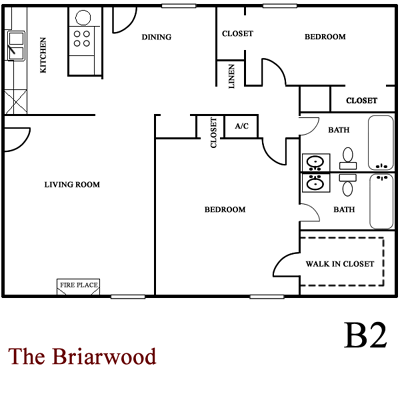 Briarwood - Two Bedroom / Two Bath 1,100 Sq. Ft.*