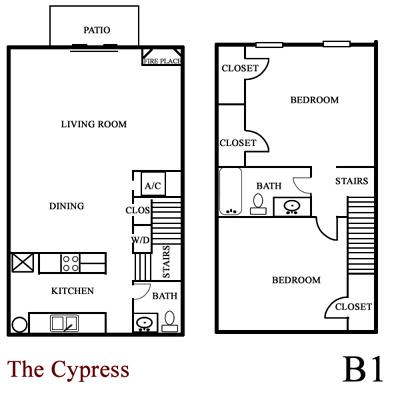 Cypress - Two Bedroom / One and half Bath -1,075 Sq. Ft.*